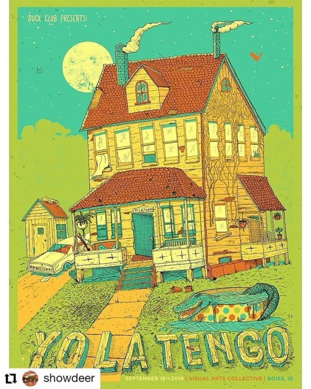 #Repost @showdeer • • • • • • Excited to share this poster I drew and illustrated for indie rock legends and pioneers Yo La Tengo! (at it since 1984!) 😍🙏🙌 @therealylt ~Next Monday 9/16 @vacuber Boise, Idaho ☆ Presented by @duckclubboise ~ Thanks to the homie @antlercrafts for making it happen. Working with the best screen printers in Portland @misplacedscreenprinting on a limited run of 5-color 19x25s for the show! #indierock #yolatengo #gigposter #illustration #visualartscollective