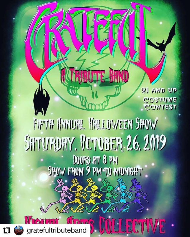 #Repost @gratefultributeband • • • • • • One more day to get advance tickets. Tomorrow night we will perform our 5th annual Halloween show at the Visual Arts Collective.